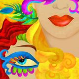 Faces with carnival mask Royalty Free Stock Photos