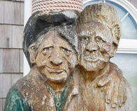 Faces, carved from wood Stock Image