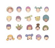 Faces of children. Cute cartoon boys and girls of different nationalities. Avatars set of funny kids. - Vector stock photo