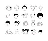 Faces of children. Cute cartoon boys and girls of different nationalities. Avatars set of funny kids. - Vector royalty free illustration