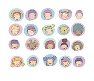 Faces of children. Cute cartoon boys and girls of different nationalities. Avatars set of funny kids. - Vector vector illustration