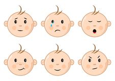 Faces of children with different emotions. Vector illustration vector illustration
