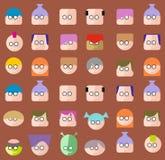 Faces Circle Icons Set Stock Image
