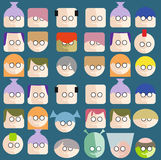 Faces Circle Icons Set Stock Images