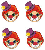 Faces of clowns. Four heads of clowns with different emotions Stock Photography