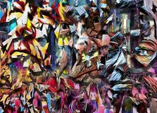 Faces. Complex abstract painting. Colorful mosaic elements and pieces of men`s faces. Human elements were created with 3D software and are not from any actual Royalty Free Stock Images