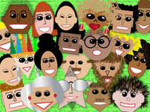 Faces in the Crowd. Geometric illustration of faces of a variety of colors and styles of people Stock Image