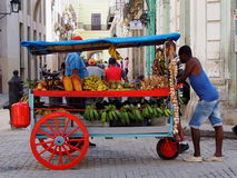 Faces Of Cuba Fruit Cart Vendor Stock Photography