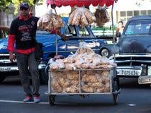Faces Of Cuba Hard Bread Seller In Old Havana Stock Photo