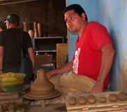 Faces Of Cuba Man Making Pottery In Trinidad. Cuba Stock Photography