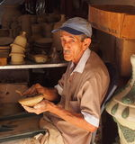 Faces Of Cuba Old Man Making Pottery In Trinidad Royalty Free Stock Images