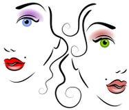 Faces da arte de grampo 2 das mulheres ilustração stock