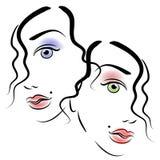 Faces da arte de grampo 3 das mulheres Imagem de Stock Royalty Free