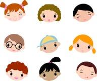 Faces da criança dos desenhos animados Fotos de Stock Royalty Free