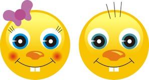 Faces da emoção do smiley Fotografia de Stock