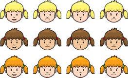 Faces da menina Fotografia de Stock
