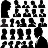 Faces das cabeças dos retratos dos povos da silhueta Imagens de Stock