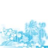 Faces das meninas e formas florais no azul Foto de Stock Royalty Free