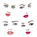 Faces das mulheres Ilustração Royalty Free