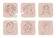 Faces das mulheres ilustração do vetor