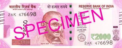 2000 faces de billet de banque de roupie indienne