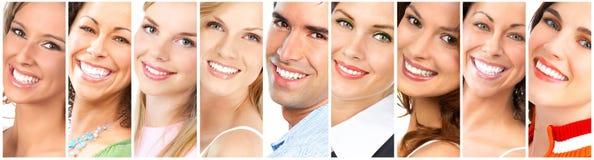 Faces de sorriso felizes Imagens de Stock