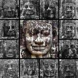Faces de sorriso no templo de Bayon Imagens de Stock