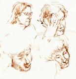 Faces, desenhando 1 ilustração stock