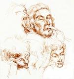Faces, desenhando 2 ilustração royalty free
