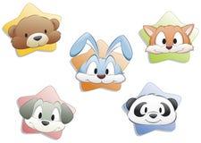 Faces do animal dos desenhos animados Fotos de Stock