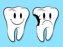 Faces do divertimento em cáries saudáveis e deterioradas dos dentes Fotos de Stock Royalty Free