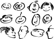 Faces do Doodle ilustração stock