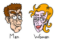 Faces do homem e da mulher Foto de Stock