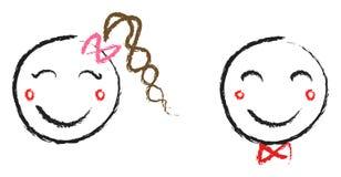 Faces do menino e da menina Imagens de Stock Royalty Free