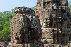 Faces do templo de Bayon, Angkor, Cambodia foto de stock