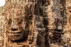 Faces do templo de Bayon, Cambodia Imagens de Stock