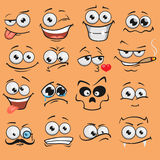 Faces dos desenhos animados ajustadas Imagens de Stock Royalty Free