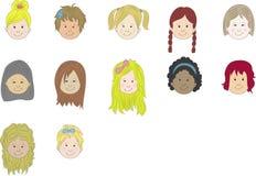 Faces dos desenhos animados das meninas Imagens de Stock Royalty Free