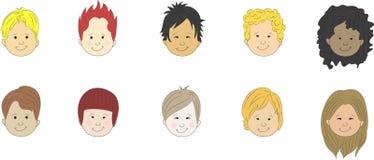 Faces dos desenhos animados dos meninos Fotografia de Stock