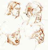 Faces, drawing 1. Hand drawing picture with expression human faces Royalty Free Stock Photography