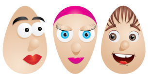 Faces on eggs Royalty Free Stock Photography