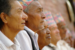 Faces of elderly Nepalese men in Durbar Square stock images