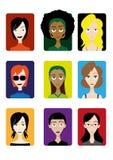 Faces engraçadas dos desenhos animados ilustração do vetor