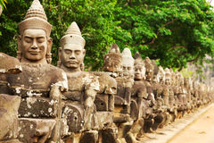Faces at the entrance of Bayon Temple Royalty Free Stock Photo
