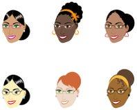 Faces espertas das mulheres ilustração royalty free