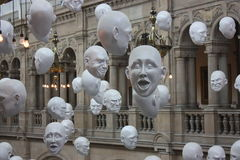 Faces - expresstions - at The Kelvingrove Art Gall. A view of hanging faces with expressions - at The Kelvingrove Art Gallery and Museum (Scotland Royalty Free Stock Photos