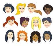 Faces fêmeas felizes Fotografia de Stock