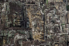 Faces. Face stone of ancient Bayon Temple in Angkor Wat, Siem Reap, Cambodia Stock Image