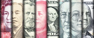 Faces of famous leader on banknotes of the main country in the w