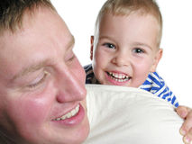 Faces father with son. Isolated stock photos